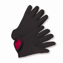 100% Cotton Brown Jersey Red Fleece Lined Gloves