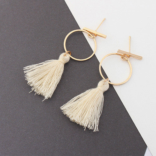 Cari Tassel Hoop Earrings in Beige