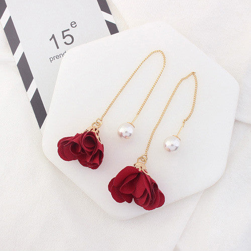 Zinnia Petal Pearl Earrings in Red