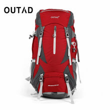 OUTAD 60+5L Outdoor Water Resistant Nylon Sport Backpack Hiking Bag Camping Travel Pack Mountaineer Climbing Sightseeing Hike