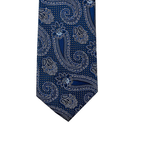 Cravate KNOTZ BLUE collection paisley noir, bleu marine et blanc
