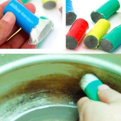 2 Pcs Magic Stainless Steel Cleaning Brush Stick Metal Rust Remover - trendyholo.com