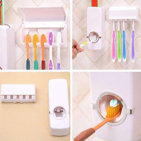 Image of Automatic Toothpaste Dispenser + 5 Toothbrush Holder - trendyholo.com