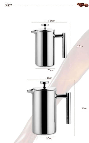 Image of Stainless Steel French Press Coffee Tea Pot with Filter Double Wall - trendyholo.com