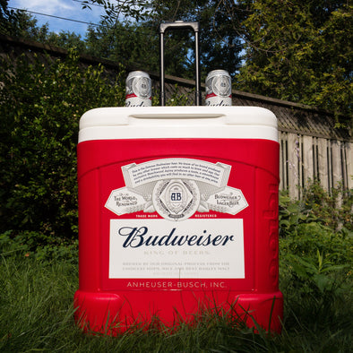 Budweiser 60QT Rolling Cooler with Telescopic Handle and Drink Holders