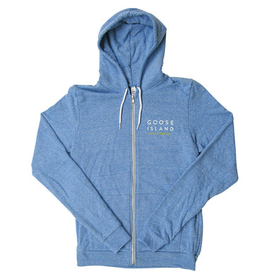 Goose Island Light Blue Zippered Hoodie