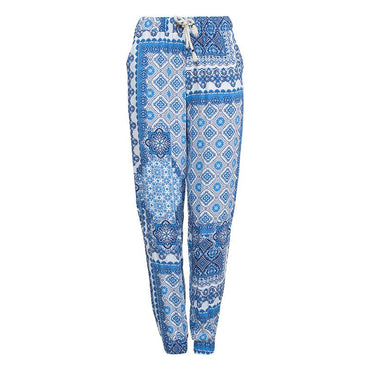 Blue Printed Trousers for Women