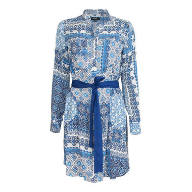 Pattern Textured Belt Dress for Women (Light Blue)