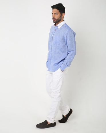 White Collar Linen Shirt
