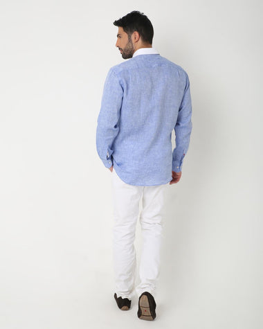 White Collar Linen Shirt (Blue)