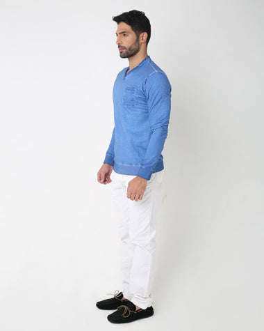 Casual Indigo T-Shirt for Men (Blue)