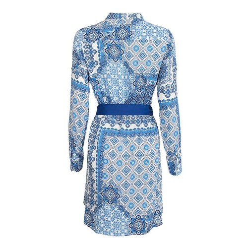 Pattern Textured Belt Dress