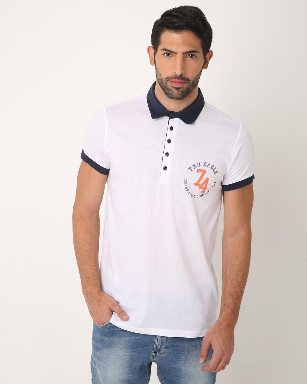 Half Sleeved Polo Ride, WHITE