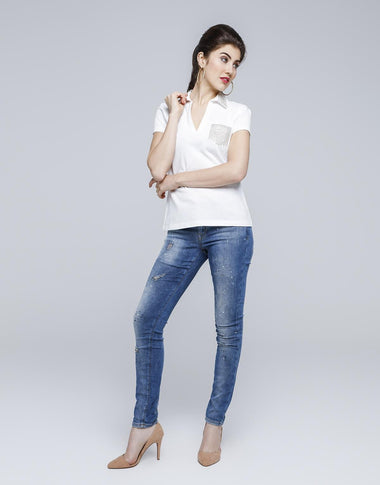 Glitzy Skinny Slim Fit Jeans for Women (Blue)