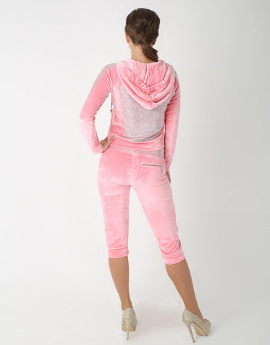 Embellished 3/4th Tracksuit for Women (Pink)