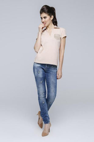 Embellished Collar Polo for Women
