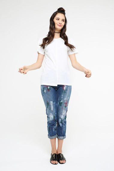Printed Straight-leg Jeans, BLUE