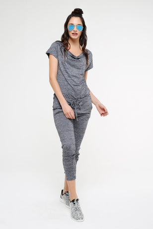 Drawstring Jumpsuit, BLUE
