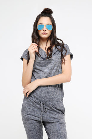 Blue Drawstring Jumpsuit for Women