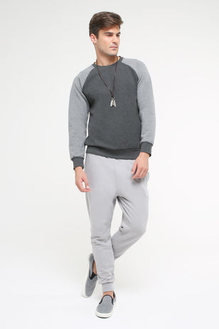 Double Faced Sweatshirt, DARK GREY