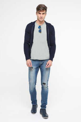 Zipped Jacket, Navy Blue