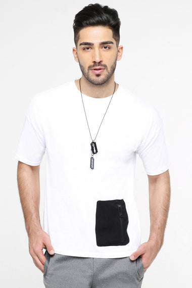 Round Neck T-Shirt With Zip Pocket for Men
