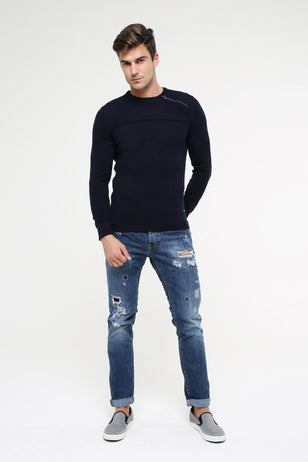 Zip Detailed Sweater, NAVY
