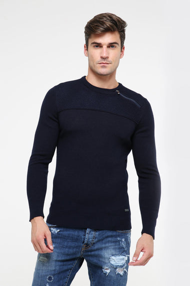 Zip Detailed Sweater (Navy)