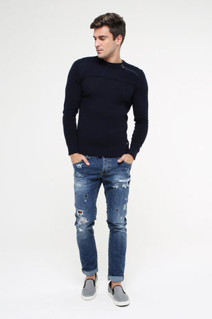 Slim-Fit Distressed Jeans, BLUE