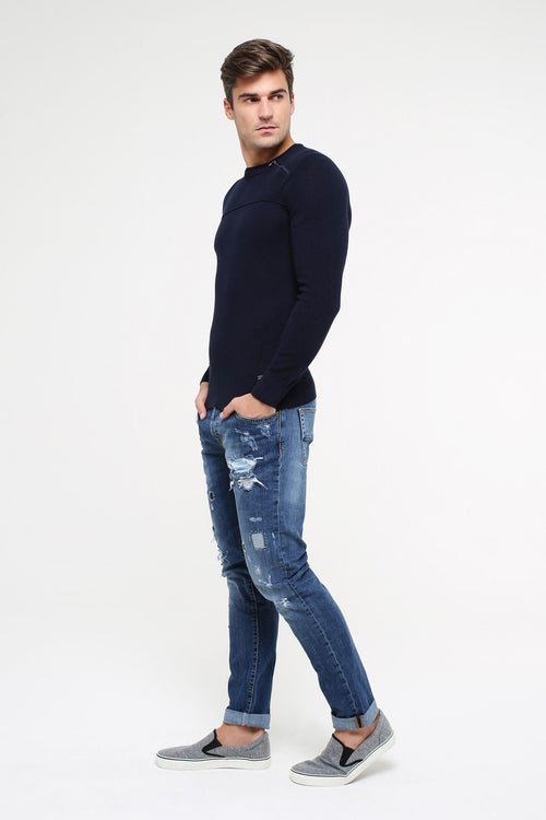 Slim-Fit Distressed Jeans