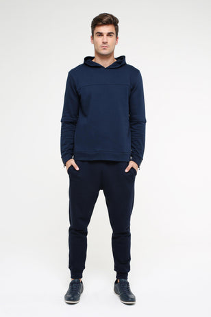Sweatshirt with hoodie, DARK-BLUE