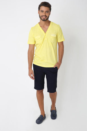 Summery Button Down T-Shirt, YELLOW