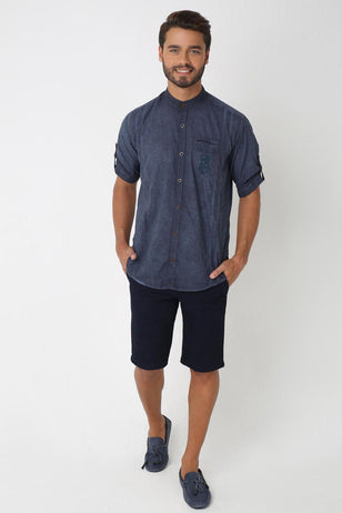 Mandarin Collar Casual Shirt, ANTRACITE