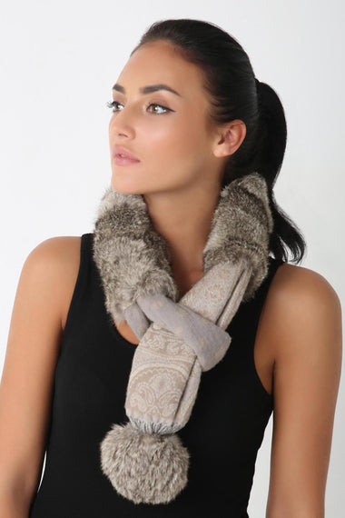 Wool Neck Scarf, BROWN