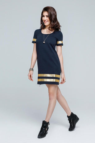 Metallic Striped Box Fit Dress