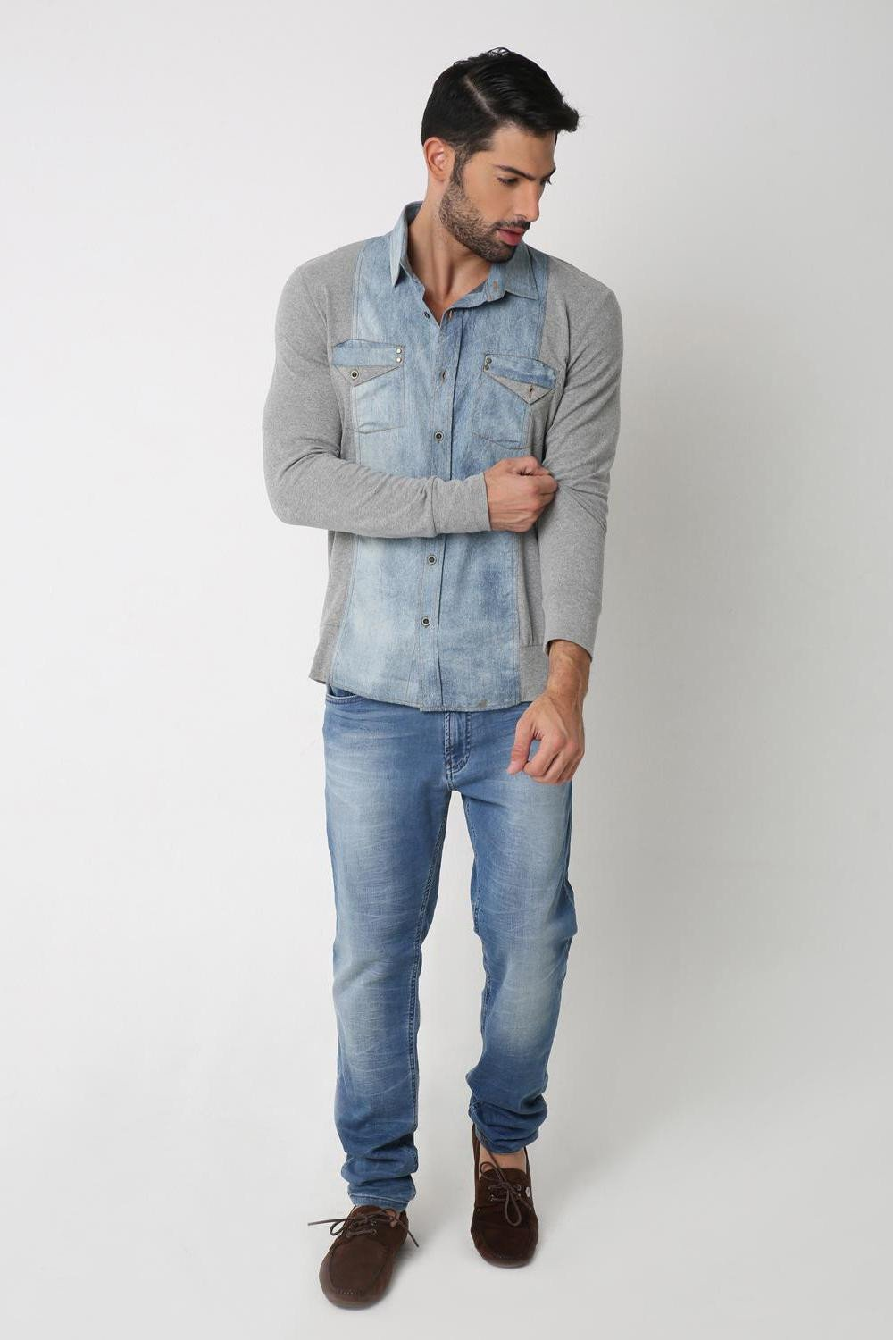 Denim Jersey Shirt, BLUE