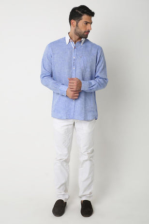 White collar linen shirt, BLUE