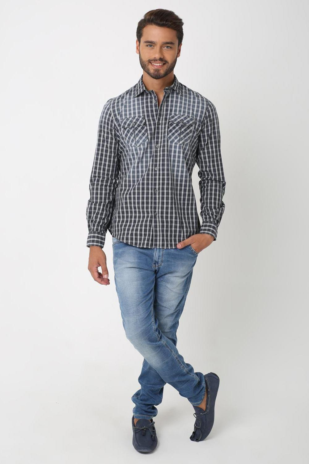 Illusion Checkered Shirt, BLACK GREY CHECKS