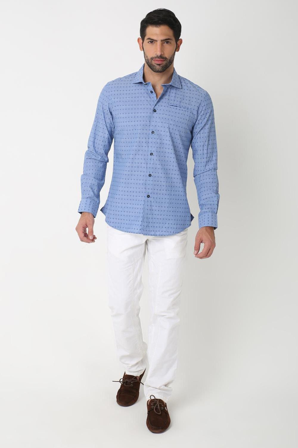 Blue Dotted Shirt, BLUE