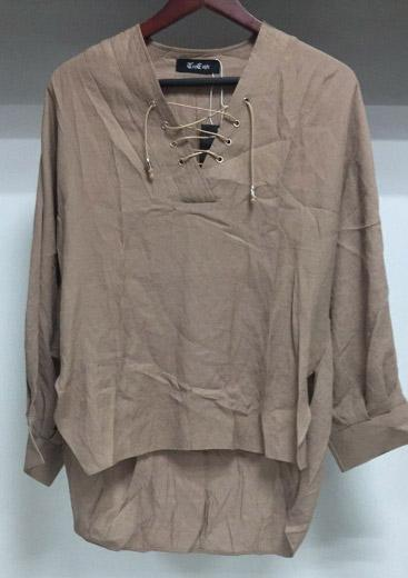 Linen Solid Color Shirt Woven (Brown)