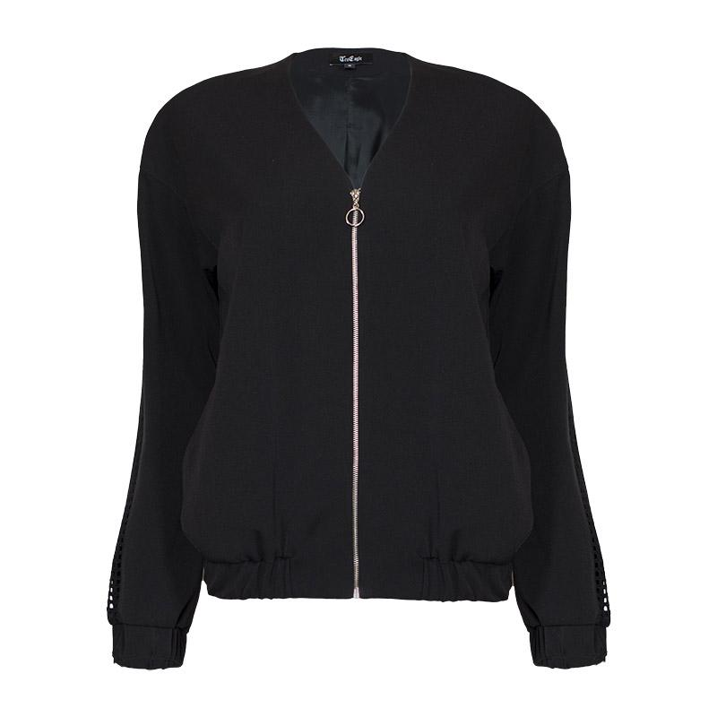 Black Back Zipped  bomber Jacket