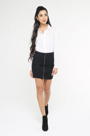 Zip Down Mini Skirt for Women