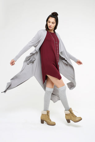 Waterfall Collar Long Cardigan for Women