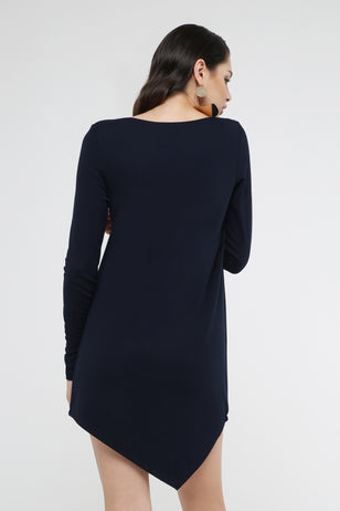 Asymmetric Hem Mini Sheath Dress