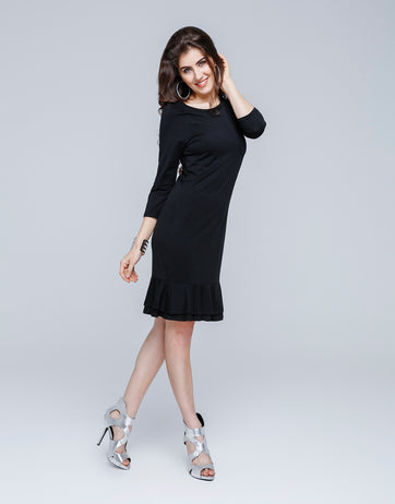 Uni Color Frill Dress for Women