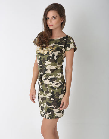 Multi Color Studded Cotton Camo Dress