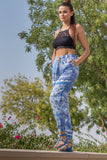 Blue Printed Trousers for Women (Light Blue)