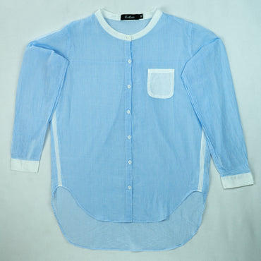 French Collar Front Pleated Shirt