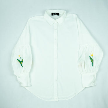 Plain Shirt With EMBROIDERED SLEEVES