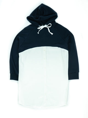 CUT AND SEW SWEATSHIRT WITH A HOODIE